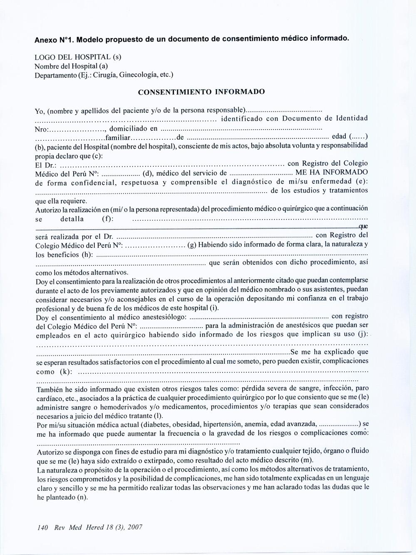 Evaluación de la calidad de los consentimientos informados de los ...